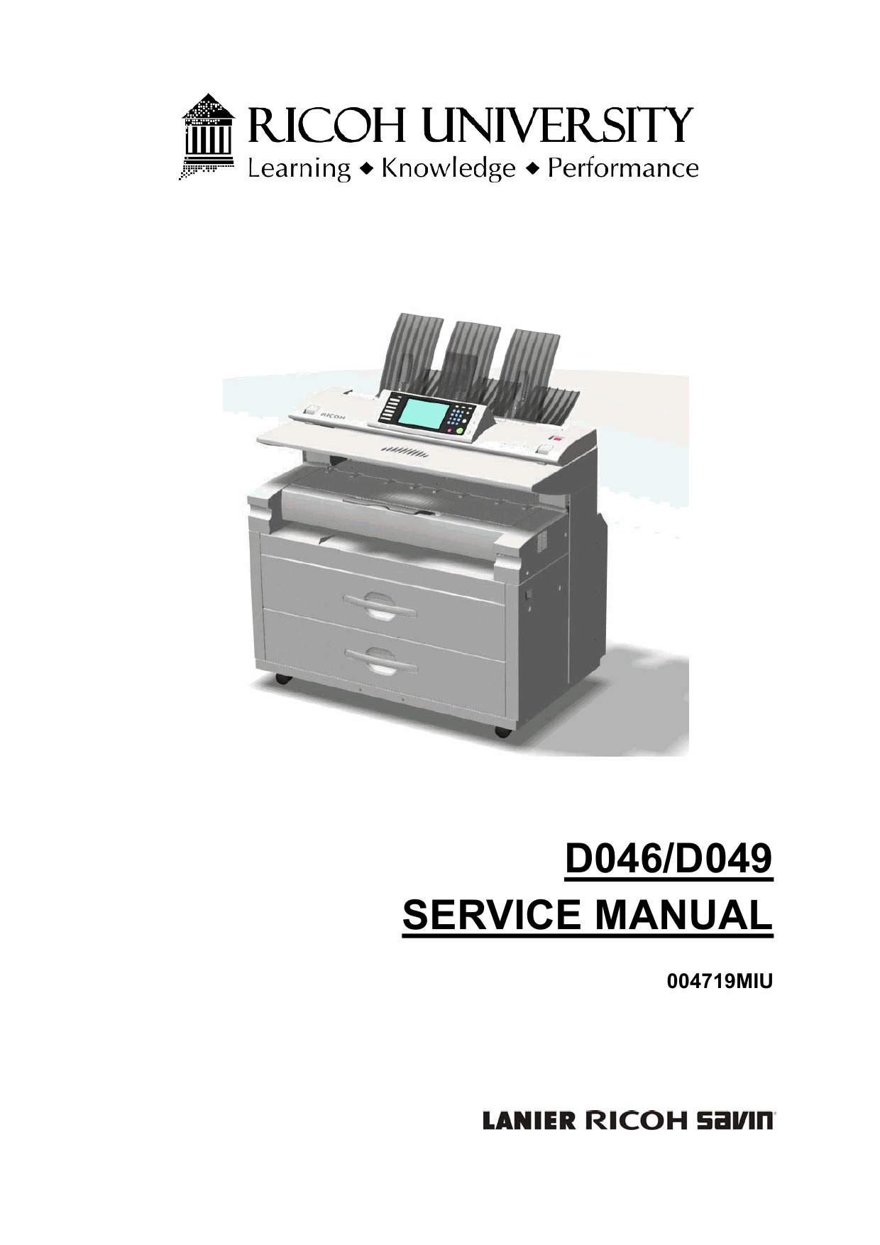 RICOH Aficio MP-W5100 W7140 D046 D049 Parts Service Manual-1